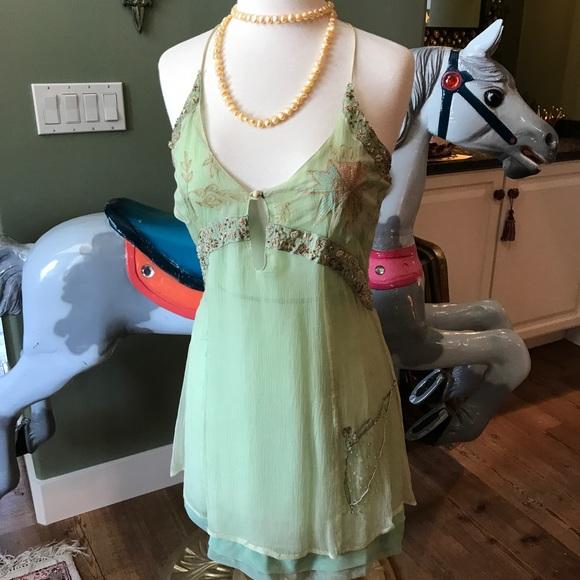 nataya Dresses & Skirts - Light green spaghetti strap sheer and short dress